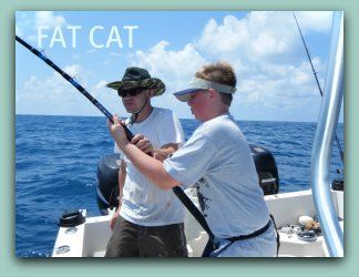 Fighting fish on the fat cat with Capt. Brad Masters fat cat fishing charters in Florida, Tampa Bay area