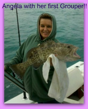 Disney area fishing charters with Angela with a Grouper.