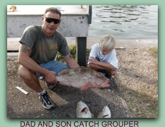 Father and son catch grouper on St Petersburg fishing charters with fat cat.